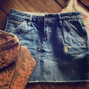Distressed cutoff Denim jean skirt 2